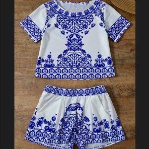 Other - Royal Blue 2 piece lace pattern set